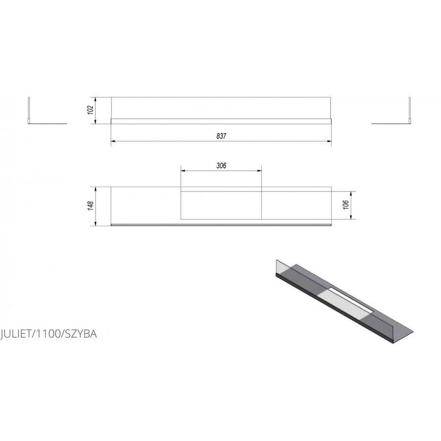 Скління біокаміна Kratki JULIET 1100