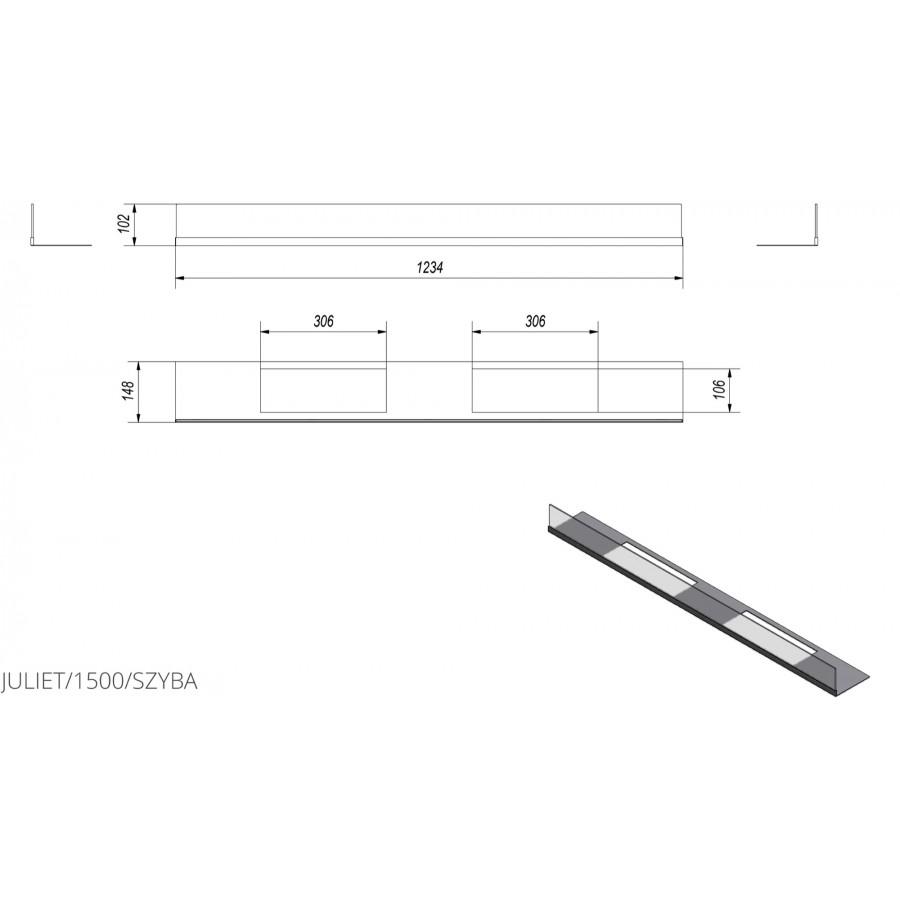 Скління біокаміна Kratki JULIET 1500