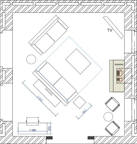 Планування вітальні з каміном. Варіант 2
