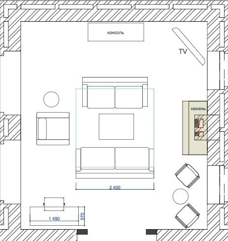 Планування вітальні з каміном. Варіант 3