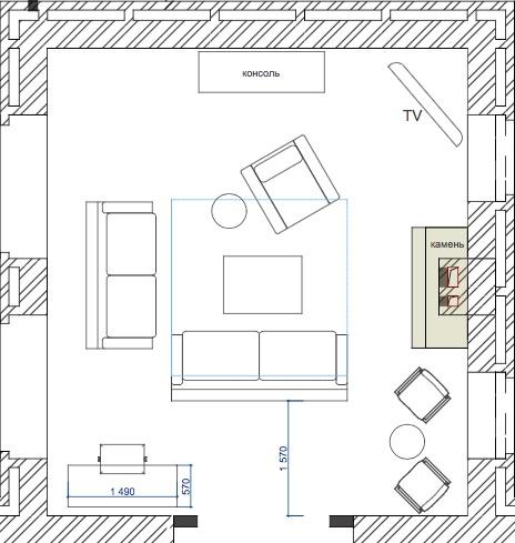 Планування вітальні з каміном. Варіант 4